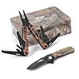 MOSSY OAK Multitool and Folding Pocket Knife Camo Set Packed in Metal Box Great for Gift, Camping, Hunting, EDC