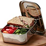 Stainless Steel Bento Box for Kids + Adults with BONUS Spoon | Large Metal Lunch Box for Men + Women | Eco Friendly 3 Section Lunch Container | Fits Full Sandwich + 2 Snacks | Top FDA Standard Steel