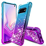 Samsung Galaxy S10 Case, OEAGO Flowing Liquid Floating Bling Glitter Sparkle TPU Bumper Shockproof Girls Women Case for Samsung Galaxy S10 (6.1'' Inch 2019) - Teal Purple