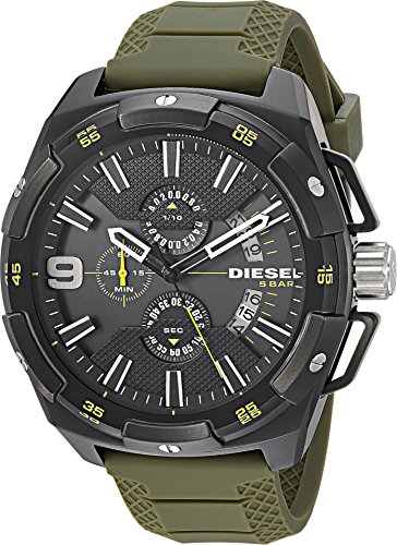 512QTi%2BNIOL Round military-inspired watch with numbered bezel featuring black dial with three subdials and date window at 5 o' clock position 51 mm stainless steel case with mineral dial window Quartz movement with analog display