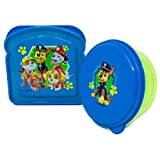 Zak Paw Patrol Lunch Box 2 Piece Set Kit,1 BPA Free Reusable Sandwich Container and Snack Bowl Kids Lunch Box Travel To Go Food Blue and Green