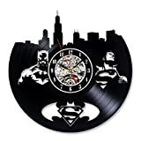 Vinyl Record Wall Clock Superman Batman Gift Idea for Adults