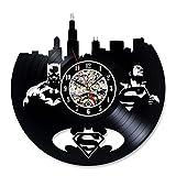 Vinyl Record Wall Clock Superman Batman Gift Idea for Adults