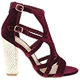 Shoe Republic LA Soft Velvet Caged Sandal w/Shiny Block Heel Kurry (Wine 6)