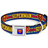 """Buckle-Down Seatbelt Buckle Dog Collar - SUPERMAN/Shield Stripe Blue/Yellow/Red - 1"""" Wide - Fits 15-26"""" Neck - Large"""