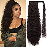 Alimice Long Corn Wave Ponytail Extension Synthetic Wavy Ponytail for Women Magic Paste Black Cury Wrap Around Black Ponytail Clip in Hairpiece Heat Resistant for Girl Lady 22 inch