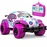 Pixie Cruiser Pink and Purple RC Remote Control Car Toy for Girls with Off-Road Grip Tires; Princess Style Big Buggy Crawler Cars Toys w/ Flowers Design and Shocks, Race Up to 5 MPH, Ages 6 Year Old+