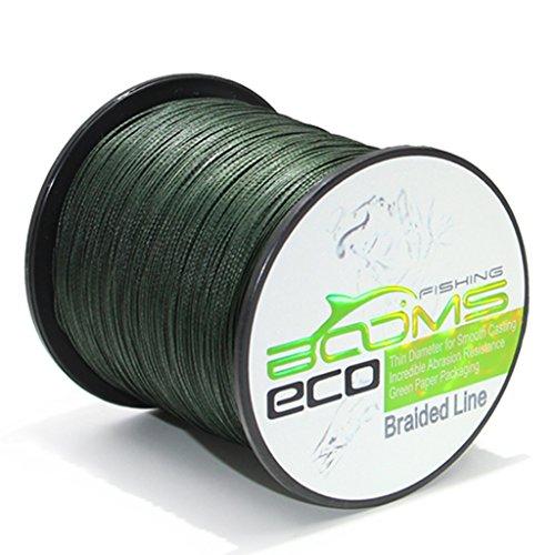 Booms Fishing ECO 100% UHMWPE Braided Fishing Line 300 Yard Green 10 Lb 1ALSTGN30010