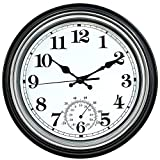 12-Inch Indoor/Outdoor Retro Silent Non-Ticking Waterproof Wall Clock with Thermometer,Battery Operated Quality Quartz Round Clock Wall Decorative for Patio/Pool/Home