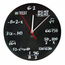 "DCI Pop Quiz Clock, Black and White, Metal, 11-1/2"" Diameter, Mathematics Teacher Gift, Wall Clock for Classroom, Home, Office"
