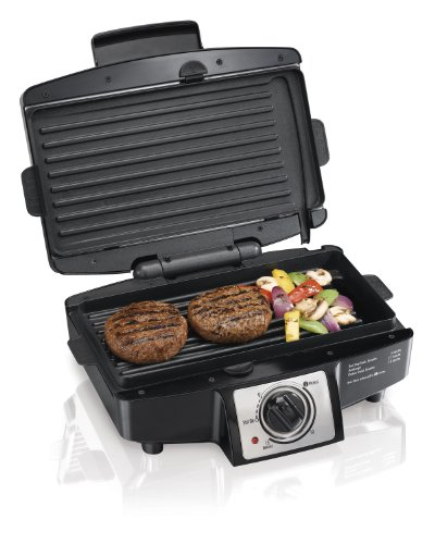 Hamilton Beach 040094253326 25332 Electric Indoor Grill with Non Stick Removable Plates, 110' Cooking Surface, 7 x 14 x 12 Inch, Black