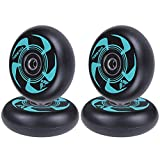AOWISH 4-Pack Inline Skate Wheels 76mm Rollerblade Replacement Wheel with Bearings ABEC-9 (Black & Green)