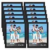 Icona Bay 8x10 Picture Frames (12 Pack, Black) Black Picture Frame Set, Wall Mount or Table Top, Set of 12 Inspirations Collection