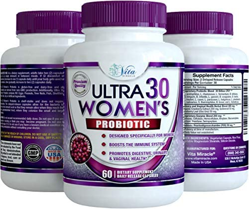 Probiotics for Women 30 Billion - 18 Strains with Cranberry Extract Best Probiotic Supplement for Digestive and Urinary Health Shelf Stable Delayed Release Veggie Capsule + Prebiotic Supplements 2