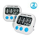 AIYEGO Digital Kitchen Timer, Electronic Memory Clock Countdown Countup Timer with Large Display, Big Digits, Loud Alarm, Magnetic Back, Retractable Stand, Battery Included for Cooking Baking (2)