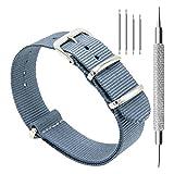 CIVO Watch Bands NATO Premium Ballistic Nylon Watch Strap Stainless Steel Buckle (Smoke Grey, 18mm)