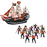 Wish Novelty- 10in Toy Pirate Ship 12 Plastic Pirate Action Figures-Toy Playset Kids