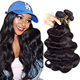 QTHAIR 12A Brazilian Body Wave Human Hair (26 26 24 22inch,400g, Natural Black) 100% Unprocessed Body Wave Brazilian Virgin Hair Weave Brazilian Body Wave Human Hair Bundles