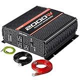 POTEK 2000W Power Inverter 3AC Outlets 12V DC to 110VAC Car Inverter with 2A USB Port