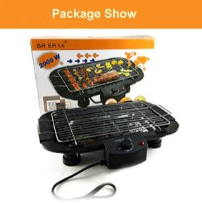 Beini-Smokeless-IndoorOutdoor-Electric-GrillHousehold-Smoke-Free-Electric-GrillPortable-Tabletop-Grill-Kitchen-BBQ-GrillsAdjustable-Temperature-ControlRemovable-Water-Filled-Drip-Tray2000-WBlack