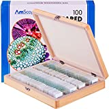 AmScope PS100A Prepared Microscope Slide Set for Basic Biological Science Education, 100 Slides, Set A, Includes Fitted Wooden Case