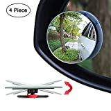 Ampper Upgrade 2' Blind Spot Mirrors, 360 Degree Rotate Sway Adjustabe HD Glass Convex Wide Angle Rear View Car SUV Universal Fit Stick-On Lens (Pack of 4)