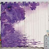 Homenon Iris Flowers Petals Against The Water River Mystical Magical Fairy Nature Image Custom Blackout Curtains Set of 2 Panels(100'x 84' Violet White