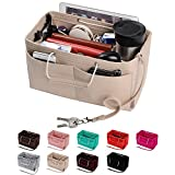 Purse Organizer, Multi-Pocket Felt Handbag Organizer, Purse Insert Organizer with Handles, Medium, Large (Large, Beige)