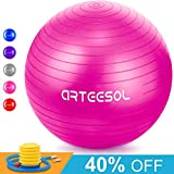 arteesol Exercise Yoga Ball, Extra Thick Stability Balance Ball (45CM-75CM / 5 Colours), Professional Grade Anti Burst & Slip Resistant Balance, Fitness&Physical Therapy, Birthing Ball with Air Pump