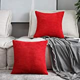 Home Brilliant Spring Festival Decorative Throw Pillow Covers Striped Velvet Corduroy Plush Cushion Cover Set for Holiday, 2 Pack(Red, 18 x 18 inch, 45cm)