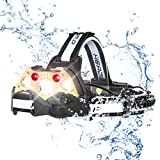 Headlamps, Rechargeable Waterproof Led Headlight with 5 Head Lamps, Brightest 10000 Lumen, 5 Modes Head Flashlights Range up to 500M for Camping, Fishing, Hiking, Outdoors