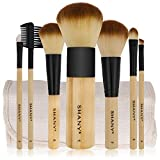 SHANY Bamboo Brush Set with Premium Synthetic Hair, Bamboo Handles and Cotton Pouch