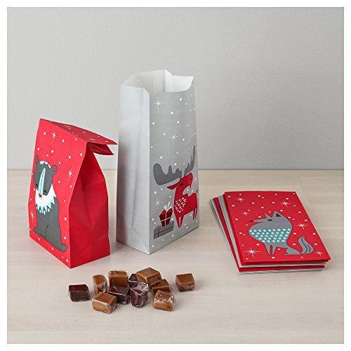 ikea disposable christmas party candy cookie snack treat gift bags for xmas red and white. Black Bedroom Furniture Sets. Home Design Ideas