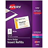 Avery Name Badge Inserts, Print or Write, 3' x 4', 300 Cardstock Refills (5392)