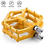 LYCAON Bicycle Pedals Aluminum Alloy Casting Body 2DU Bearing Lightweight Road Mountain Bike Pedals for MTB BMX (Yellow)