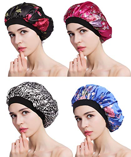 FIBO STEEL 4 Pcs Soft Satin Hair Bonnet for Women Girls Silk Sleeping Salon Cap Bonnet Set