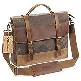 Manificent Men's Messenger Bag, 15.6 Inch Vintage Waxed Canvas Genuine Leather Large Satchel Shoulder Bag Waterproof Canvas Leather Computer Laptop Bag,Briefcase Tablet Messenger Bag (Brown)