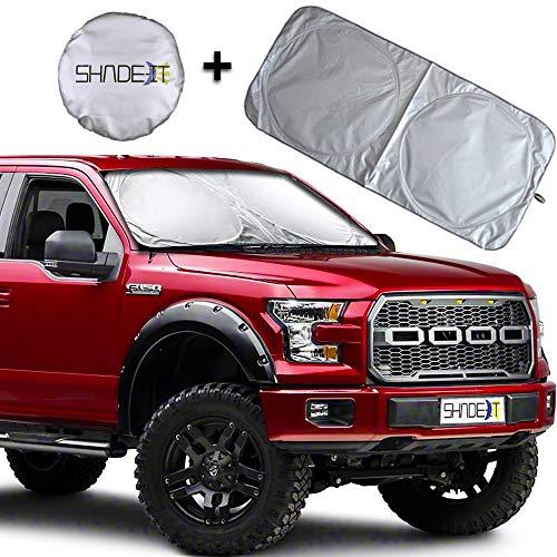 Shade-It Car Windshield Sun Shade + Bonus - Durable 210T Polyester Heat Block & UV Protection Truck, SUV Sunshades Sunlight Blocker, Reflective Coating, Easy Storage Sunshade (X-Large 67.75' x 35.5')