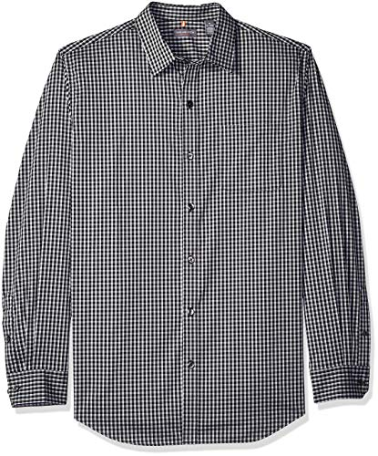Van Heusen Men's Traveler Stretch Long Sleeve Button Down Black/Khaki/Grey Shirt, Aluminum, Large