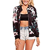 Product review for Vamvie Women's Casual Long Sleeve Print Zip Up Slim Fit Stand Collar Bomber Jacket