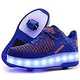 AIkuass Roller Shoes Boys Girls USB Charge LED Light Up Sneaker Kids Wheeled Skate Shoe (5.5 M US Big Kid, 1- Blue- Double Wheels)