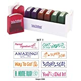 ECR4Kids Motivation Teacher Stamps - Mess-Free Self-Inking School Grading Stamp Set with Storage Tray (8-Piece Kit)