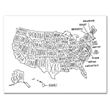 Easy Tiger Quality Art Print, Black and White Hand Lettered US Map (24x18)