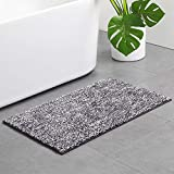 Artiron Bathroom Rug Runner, Luxury Fluffy Starry Bath Mat Non Slip Water Absorbent Thick Accent Shower Mats Machine Washable Durable Super Soft Microfiber Plush Carpet 18x47inch, Black