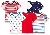 Amazon Essentials Baby 6-Pack Lap-Shoulder Tee, Uni Americana, 12M