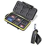 Beeway Tough Water Shock Resistant Protector Memory Card Carrying Case Holder 24 Slots for SD SDHC SDXC and Micro SD TF with Storage Bag & Carabiner