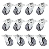 "everfarel 12 Pack 2"" Swivel Caster Wheels Polyurethane PU Caster Wheels with 360 Degree Top Plate & Bearing Heavy Duty"