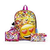 Emoji Yellow 16' inch Backpack Back to School Essentials Set for Girls