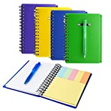 Coopay 4 Pieces Spiral Notebook Steno Pocket Notepad with Pen in Holder and Sticky Notes, Page Marker Index Tabs Flags (Yellow, Blue, Purple, Green)