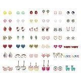 Hanpabum 42 Pairs Stainless Steel Earrings for Girls Women Flower CZ Animals Heart Ice Cream Colorful Cute Stud Earrings set